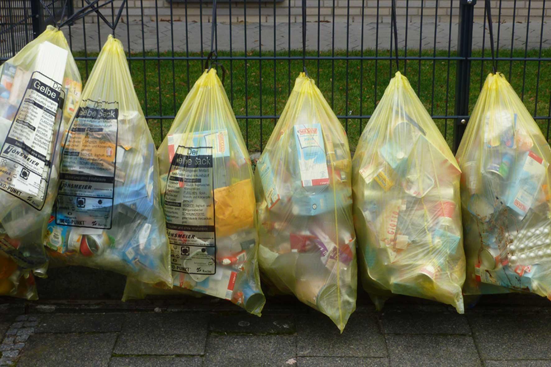 Das Bild zeigt gelbe Säche als Müllsäcke, die aufgereiht an einem grünen Zaun zur Abholung aufgehängt sind.