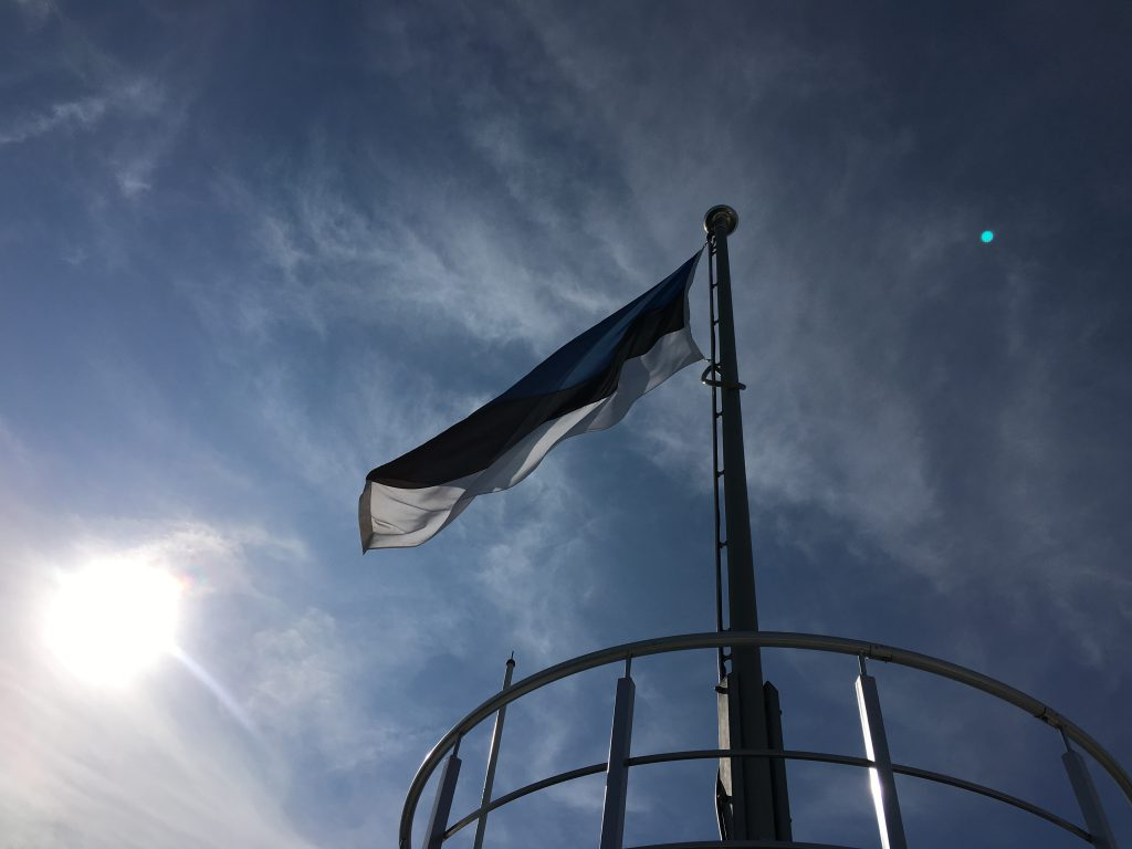 Das Foto zeigt die Flagge von Estland vor blauem Himmel.