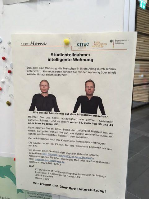 Das Foto zeigt einen Aufruf zur Teilnahme an einer Studie zur KI.