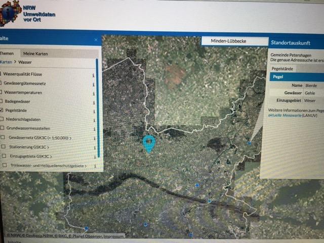 Das Foto zeigt die Landkarte von MInden mit den Pegelständen der Flüsse.