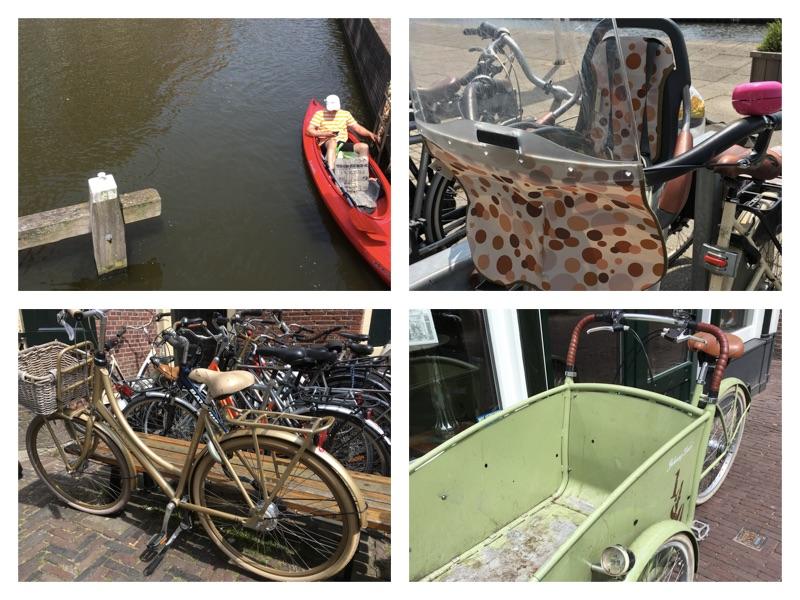 Das Foto zeigt Fahrräder in den Niederlanden: in gold, mit Lastenkarre, mit Kindersitz.