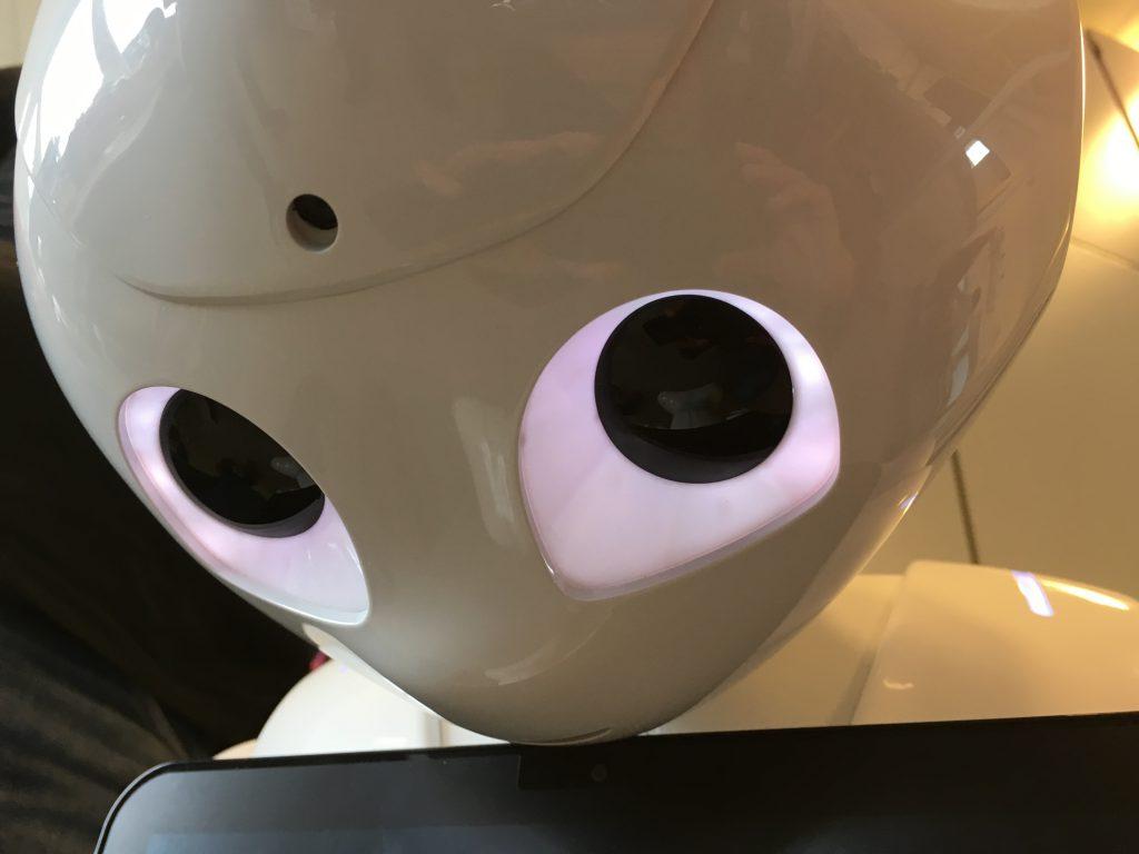 Das Foto zeigt Emma, einen Roboter aus der FH Kiel. Man sieht ihre beleuchteten Augen ins schwarz mit einem roten Rand.
