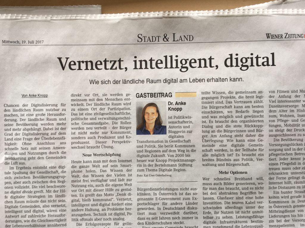 Das Foto zeigt den Artikel in der Wiener Zeitung.