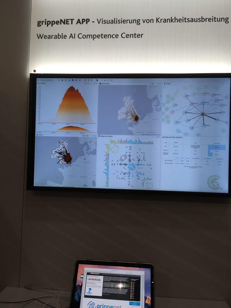 Das Foto zeigt einen Monitor mit Grafiken zur Ausbreitung der Grippe.