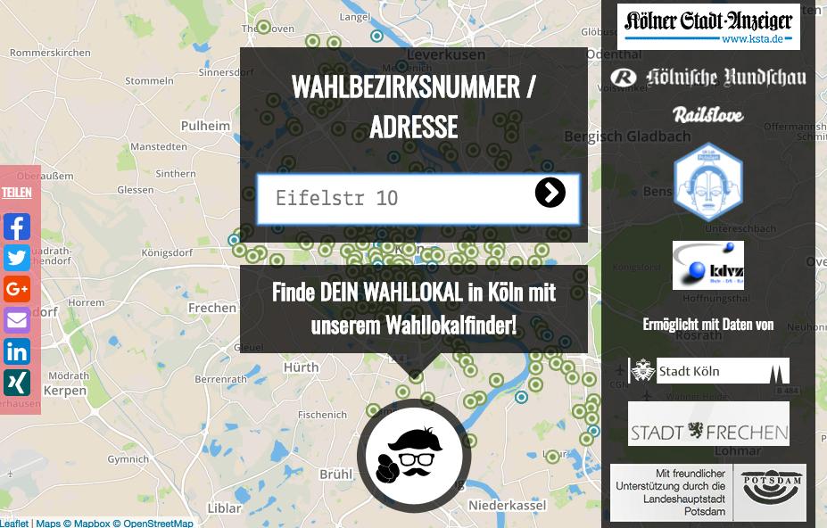 Das Foto zeigt den Wahlkreisfinder in Köln online.
